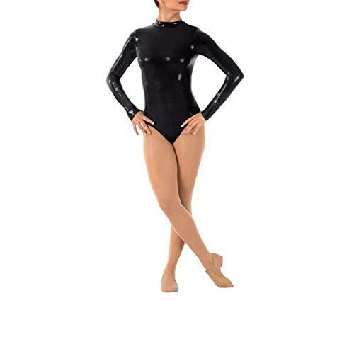 IWEMEK Damen Ballettanzug Glänzende Langarm Body Wetlook Danz Ballett Trikot Gymnastikanzug Turnanzug...