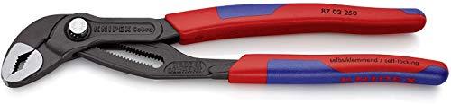 KNIPEX 87 02 250 SB Cobra® Hightech-Wasserpumpenzange grau atramentiert mit schlanken Mehrkomponenten-Hüllen...