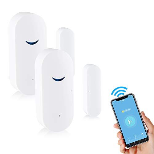 Smart WiFi Türsensor Türalarm Wireless-Fenster Türsicherheitsalarm, Tür und Fenster Smart Sensor Alarm,...