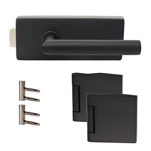 Premium Glastürbeschlag Q3 UV | inkl. Officebändern + RT | Schwarz matt Elektrophoresebeschichtung | New...