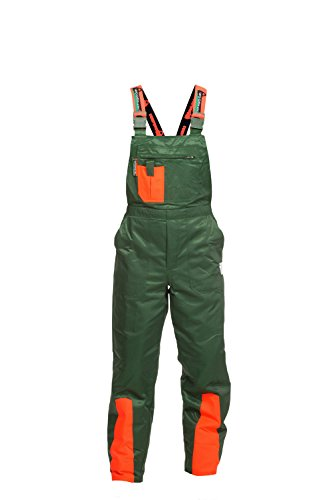 Schnittschutzhose Klasse 1, FPA Forsthose WOODSafe, Latzhose grün/orange, Herren - Waldarbeiterhose mit...