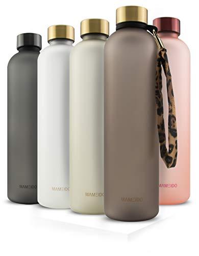 MAMEIDO Trinkflasche 1l urban Taupe Gold - auslaufsicher, Kohlensäure geeignet, BPA frei - Sportflasche aus...