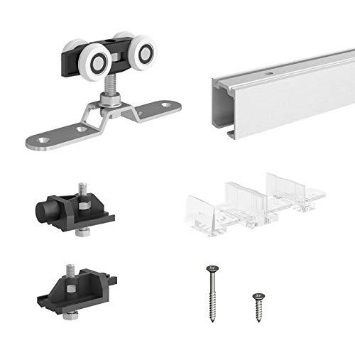 Schiebetürbeschlag SLID'UP 170, Laufschiene 200 cm, 1 Tür bis 120 kg, für Durchgangstüren, Holztüren