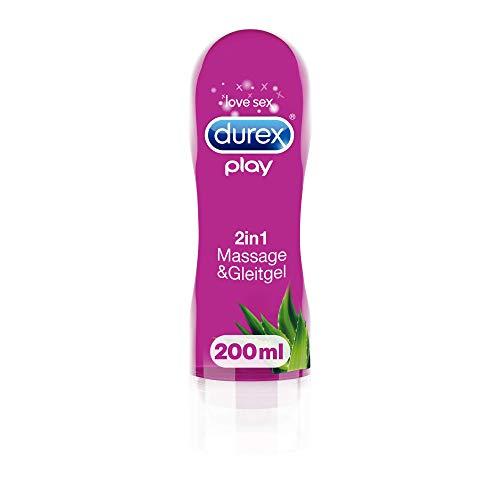 Durex Gleitgel Play 2-in-1 Massage Aloe Vera – Wasserbasiertes Gleitgel mit pflegenden Aloeveraextrakten...