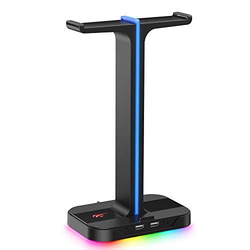 Havit Headset Ständer RGB Dual Balance mit 2 USB-Anschlüssen, Desktop Headset Ständer Haltbarer Gaming...