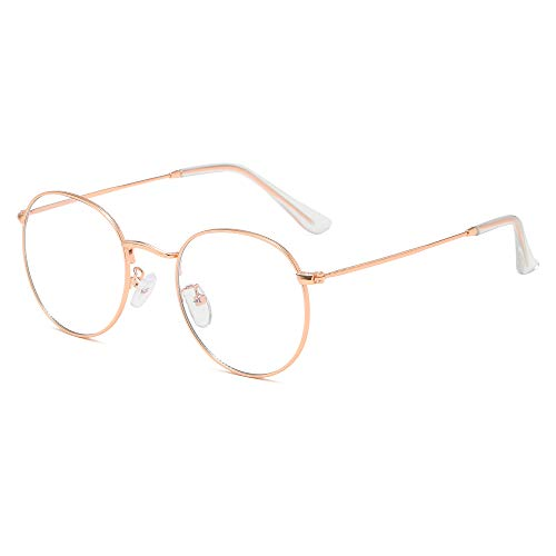 Blaulichtfilter Brille Ohne Stärke Anti-Müdigkeit UV-Schutz Computerbrille Retro Rund Metallgestell...