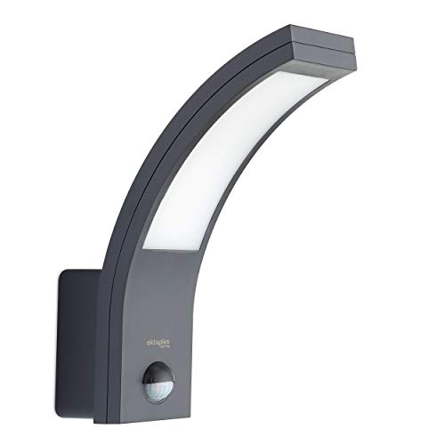 LED Außenleuchte mit Bewegungsmelder Rio 10W | Außenlampe Ip54 anthrazit Wand Außen | Außenwandleuchte...