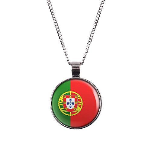 Mylery Hals-Kette mit Motiv Portugal Lissabon Flagge Silber 28mm