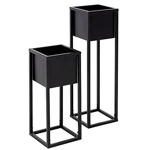 ML-Design Pflanzenständer im 2er Set, Schwarz, 21 x 50/70 x 21 cm, Moderne Blumentopfständer mit Übertopf,...