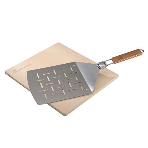 LANDMANN Selection Pizza-Set   Pizzastein ideal für Pizza & Brot backen   Klappbarer Pizzaheber aus Edelstahl...