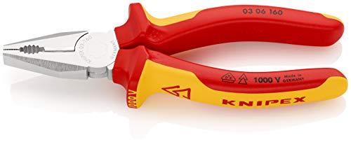 KNIPEX 03 06 160 Kombizange verchromt isoliert mit Mehrkomponenten-Hüllen, VDE-geprüft 160 mm