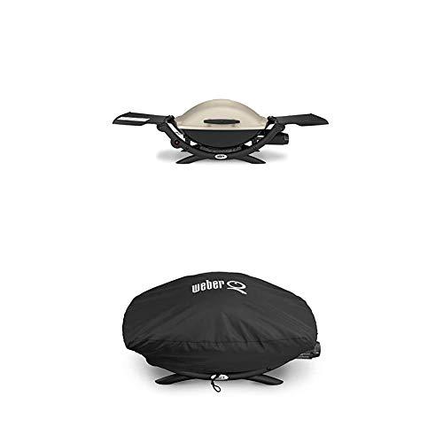 Weber 53060079 Gasgrill Q 2000, Titan, Zündung per Knopfdruck, Abklappbare Seitentische, Balkon Grill +...