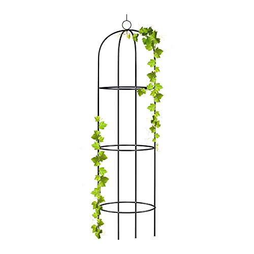 wuuhoo® I Rankhilfe Alma als Obelisk aus Metall 190cm für den Garten und Terasse I Rankturm und Ranksäule...