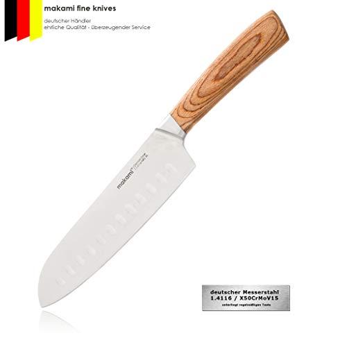 makami Kona II Santoku Messer mit Griff aus Pakkawood - scharfes asiatisches Koch- und Küchenmesser
