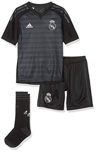 adidas Kinder 18/19 Real Madrid Away Kit - Lfp Badge Mini-ausrüstung, tech Onix/Bold Onix/White, 128