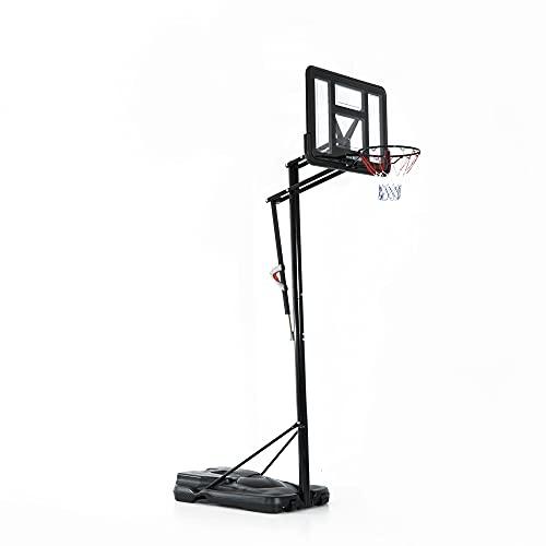 HOMCOM Mobiler Basketballständer Basketballkorb mit Ständer höhenverstellbar, Stahl+PE, Schwarz,...