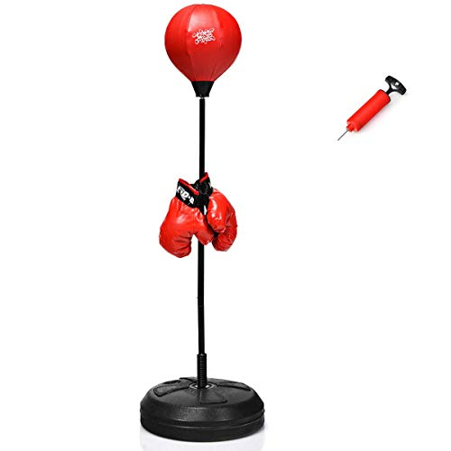COSTWAY Punchingball 120-154cm höhenverstellbar, Standboxball freistehend, Boxsack Set, Boxset, Box Set inkl....