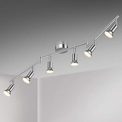 Unicozin LED Deckenleuchte, 6 Flammig LED Deckenstrahler Schwenkbar Chrom, Inkl. 6 x 3.5W GU10 LED Lampen,...