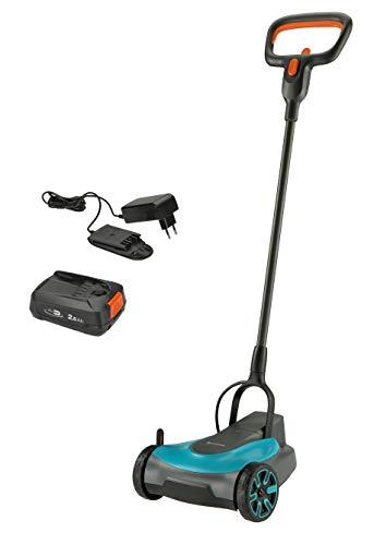 GARDENA Akku-Rasenmäher HandyMower 22/18V P4A Ready-To-Use Set: Handrasenmäher, für Rasenflächen bis zu 50...