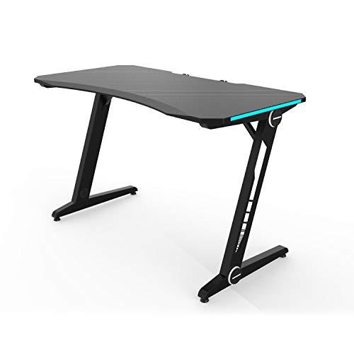 HFTEK Gaming Schreibtisch - Gaming Tisch - Ergonomischer Gamer Desk - Computertisch mit Blauer LED-Beleuchtung...