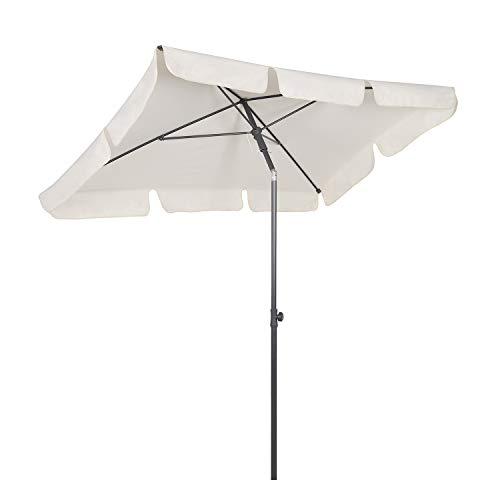 Sekey® 200 × 125 cm Sonnenschirm Marktschirm Gartenschirm Terrassenschirm Sonnenschutz UV 50+ Weiß...