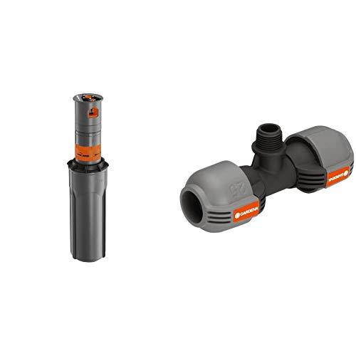 Gardena Sprinklersystem Turbinen Versenkregner T200 & Sprinklersystem T-Stück für Außengewinde:...