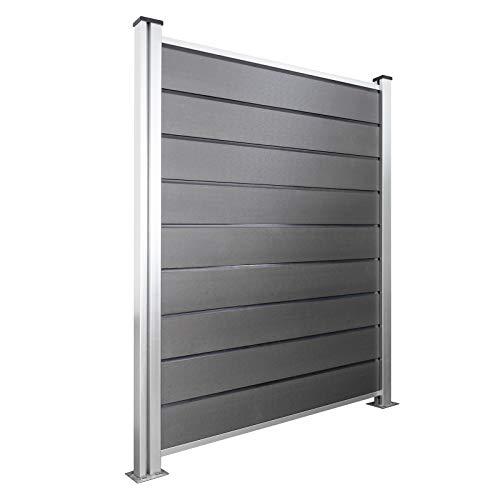 HORI® WPC-Zaun Design l Sichtschutz-Zaun Steckzaun Gartenzaun Komplettset l 1x Quadratisch + 2x Pfosten I zum...