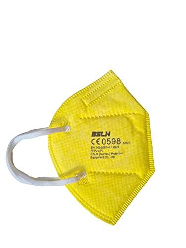 ESLH 20 farbige FFP2 Masken in Buntem gelb. CE zertifizierte FFP2 Masken für Erwachsene mit Bestbewertung...