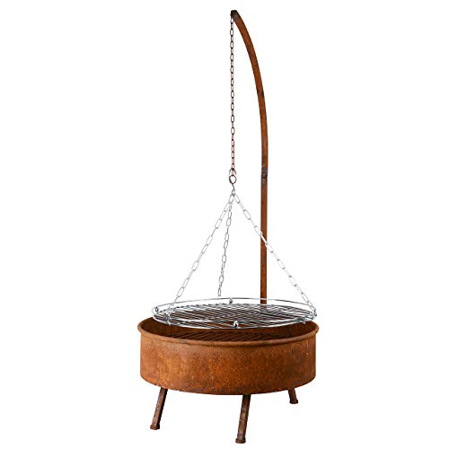 RM Design Schwenkgrill aus Edelrost inkl. Grillrost Hängegrill Durchmesser 61 cm