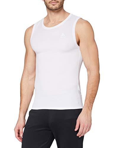 Odlo Herren BL TOP Crew neck Singlet ACTIVE F-DRY LIGHT Unterhemd, White, L