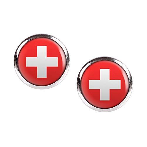 Mylery Ohrstecker Paar mit Motiv Schweiz Suisse Switzerland Flagge silber 12mm