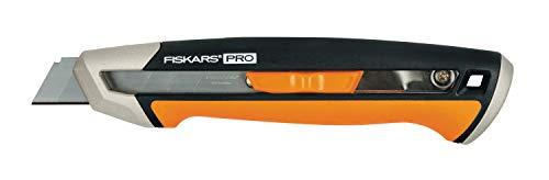 Fiskars Cuttermesser, Länge 16,5 cm, Inklusive Klinge (18mm), Rostfreier Stahl/Kunststoff, Schwarz/Orange,...