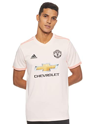 adidas Herren Manchester United FC Away Kurzarm Trikot, Icey Pink/Trace Pink/Black, L