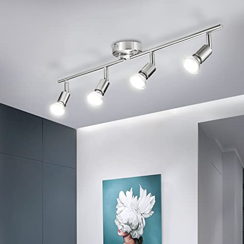 Bojim Deckenstrahler 4 flammig LED Neutralweiß 4500K Spotrohr Metall Inkl. 4 x 6W GU10 Luchtmittel Spotbalken...