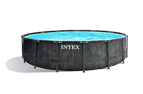 Intex Unisex– Erwachsene Premium Frame Pool Set Prism Greywood Ø 457 x 122 cm, Dunkelgraue Holzoptik