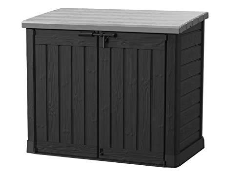 Store it out Max Mülltonnenbox mit Gasdruckfeder, wetterfest, abschließbar, schwarz, 1.200 L, 145,5 x 82 x...