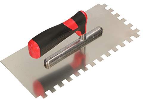 KOTARBAU® Edelstahl Glättkelle 270 x 128 mm mit Zahnung 10x10 mm Zahnkelle zum Verlegen von Fliesen...