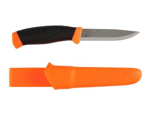 Morakniv Messer - Companion - rostfreier Sandvik Stahl 12C27 - zweifarbiger Griff - neonfarbene Scheide mit...