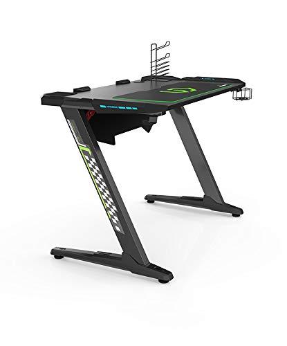 Ultradesk Space - Gaming Tisch mit modernem Design und solidem Stahlrahmen, Gamer Schreibtisch mit LED und...