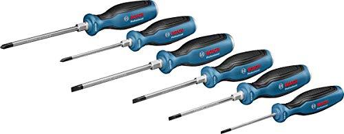 Bosch Professional 6 tlg. Schraubendreher Set (Kreuz- und Schlitzschraubenzieher, durchgehende Stahlklinge und...