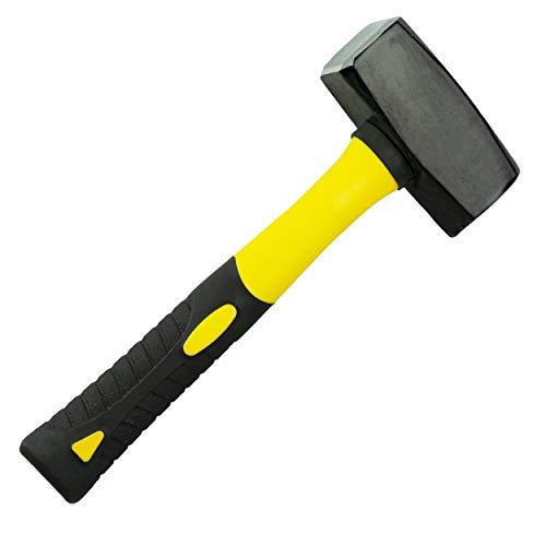 HRB Fäustel 1500g mit Fiberglasstiel, Hochwertiger 1,5kg Hammer mit Stahlkopf - Rutschfester 2 Komponenten...