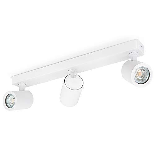 linovum TENJO Deckenstrahler 3 flammig weiß inkl. LED GU10 Lampen 3W warmweiß - Strahler drehbar schwenkbar...