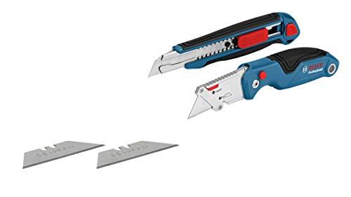 Bosch Professional 2 tlg. Messer Set (mit Universal Klappmesser und Profi Cuttermesser, inkl. Ersatzklingen,...