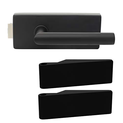 Premium Glastürbeschlag Q3 UV | inkl. Studiobändern | Schwarz matt Elektrophoresebeschichtung | New Orleans