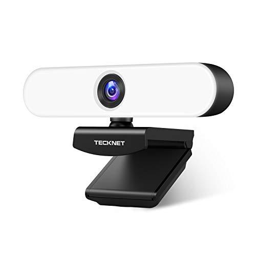 TECKNET Webcam HD 1080P Ringlicht Webkamera mit Dual Mikrofon, PC Kamera mit 3-stufig einstellbare Helligkeit,...