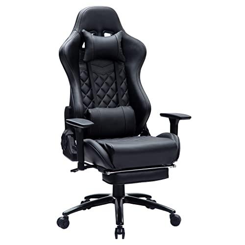 KILLABEE Gaming Stuhl Verstellbares Massage Lendenkissen Einziehbare Fußstütze, verstellbare Armlehne und...