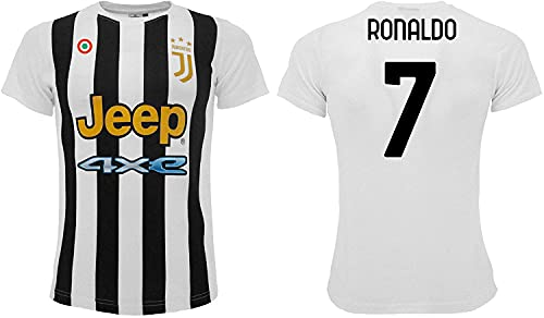 Sportbaer Fußballtrikot Cristiano Ronaldo Saison 2021 2022 Trikot Weiß Schwarz Nummer 7 Erstes Trikot...