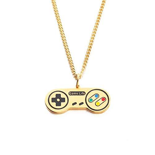 HMANE Edelstahl Gamepad Anhänger Halskette Gold Handheld PS Gamepad X Box Spiel Liebhaber Geschenk für ihn