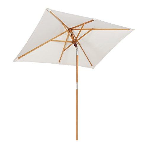 Sekey® 200 × 150 cm Holz-Sonnenschirm Marktschirm Gartenschirm Terrassenschirm Sonnenschutz UV50+ Creme...