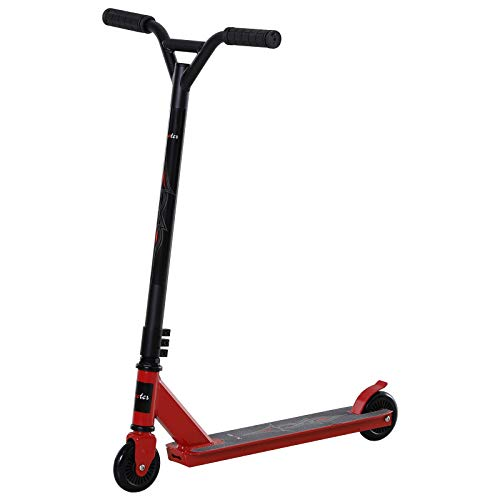 HOMCOM Pro Stunt Scooter, Tretroller, Freestyle Tricks, mit 100mm PU-Rädern, für Kinder und Erwachsene, Alu,...